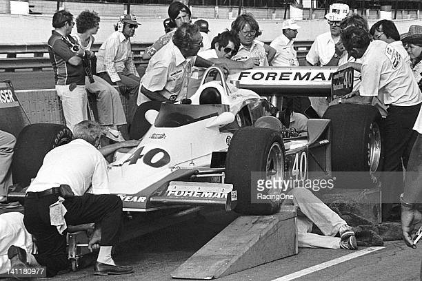 Mid1970s The Pat Patrick Racing USAC Indy Car for driver Wally Dallenbach undergoes tech inspection before a race Dallenbach drove for Patrick off...