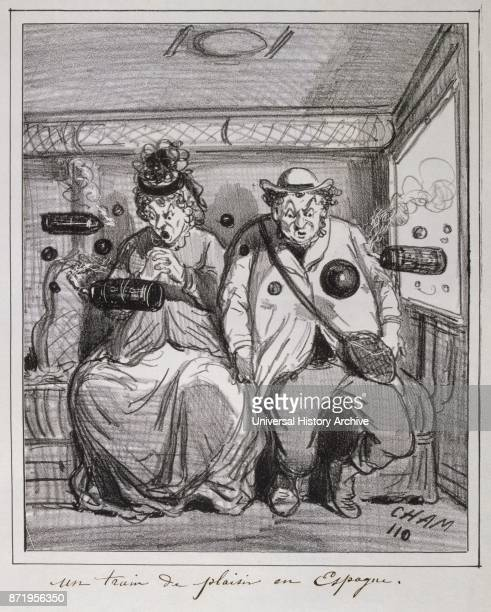 Mid-19th century French illustration showing two passengers in a railway carriage. 1850.