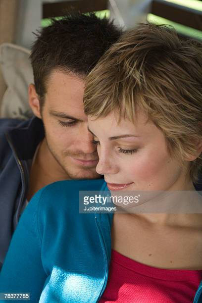 Mid-adult couple in intimate pose