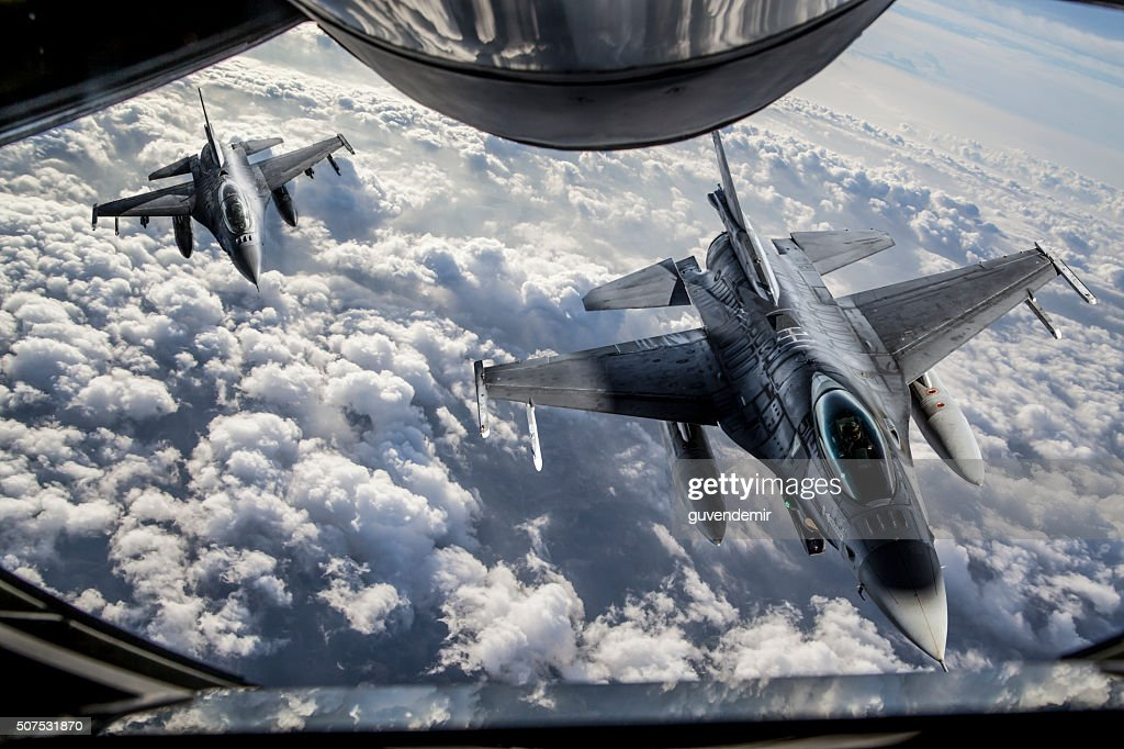 Mid-air Refueling : Stock Photo