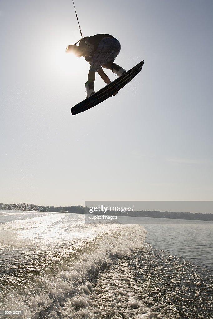 Midair wakeboarder : Stock Photo