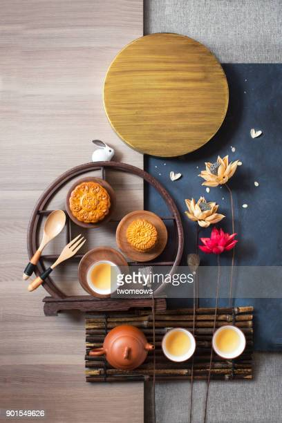 mid-autumn festival food and drink still life. - moon cake stock pictures, royalty-free photos & images