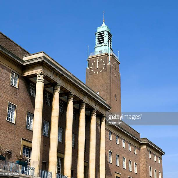 midday at norwich city hall - town hall stock photos and pictures