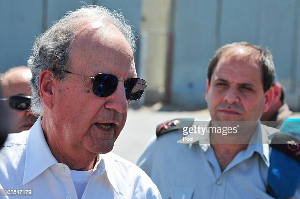 Middel East envoy, former U.S. Sen. George Mitchell , speaks at the Kerem Shalom crossing June 30, 2010 on the border of Israel and the gaza Strip....