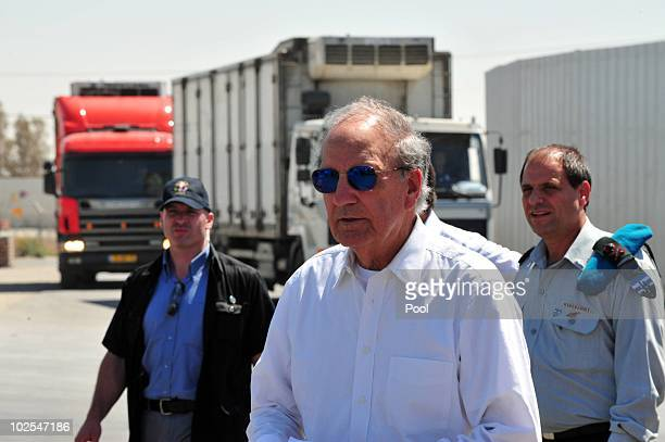S Middel East envoy former US Sen George Mitchell walks at the Kerem Shalom crossing June 30 2010 on the border of Israel and the gaza Strip Mitchell...
