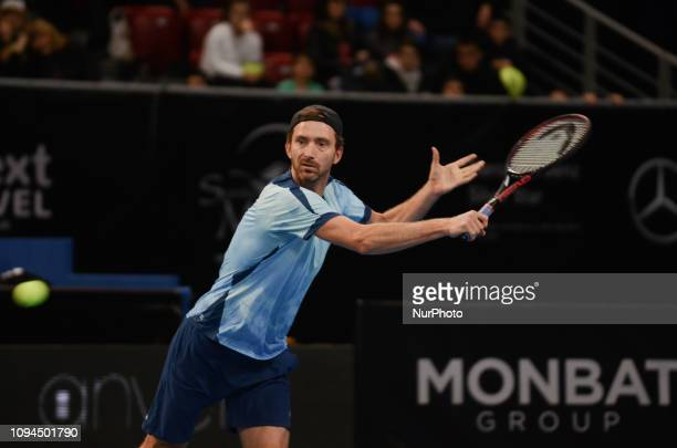 M Middelkoop during his game against [WC] A Andreev / D Kuzmanov Sofia Open 2019 at Arena Armeec Hall in the Bulgarian capital of Sofia Bulgaria on...