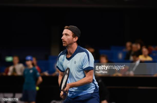 M Middelkoop during his game against[WC] A Andreev / D Kuzmanov Sofia Open 2019 at Arena Armeec Hall in the Bulgarian capital of Sofia Bulgaria on...