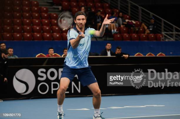 M Middelkoop play the ball against [WC] A Andreev / D Kuzmanov Sofia Open 2019 at Arena Armeec Hall in the Bulgarian capital of Sofia Bulgaria on...