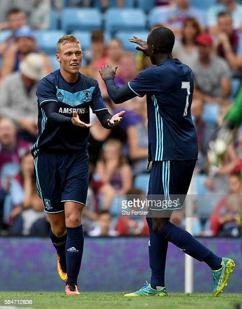 Middesbrough forward Viktor Fischer celebrates his goal during the pre season friendly between Aston Villa and Middlesbrough at Villa Park on July 30...