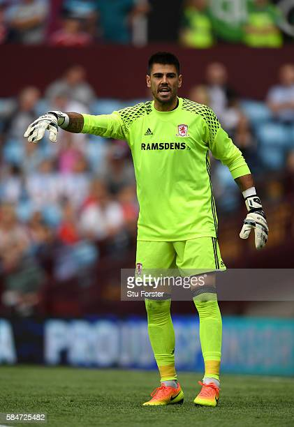 Middesbrough goalkeeper Victor Valdes in action during the pre season friendly between Aston Villa and Middlesbrough at Villa Park on July 30 2016 in...