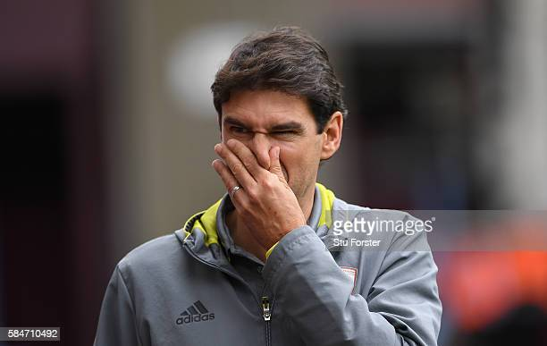 Middesbrough manager Aitor Karanka reacts before the pre season friendly between Aston Villa and Middlesbrough at Villa Park on July 30 2016 in...