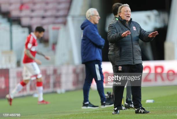 Middesbrough manager Neil Warnock during the Sky Bet Championship match between Middlesbrough and Cardiff City at the Riverside Stadium,...