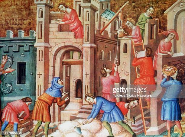 Middle age construction of a church in the 14th century masons and carpenters are at work Medieval miniature Europe approx 1350