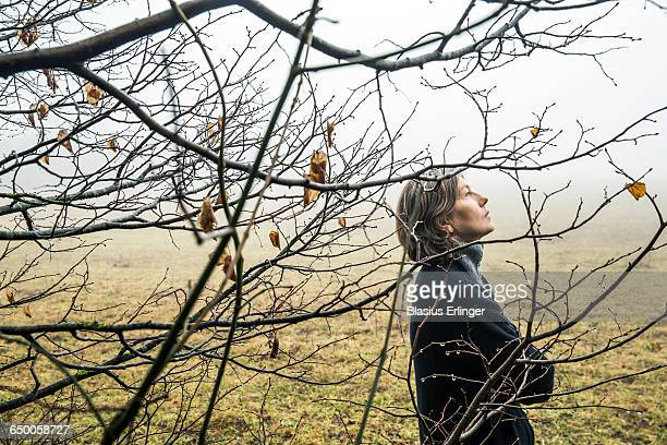 middle age woman walking in winter forest - grief stock pictures, royalty-free photos & images