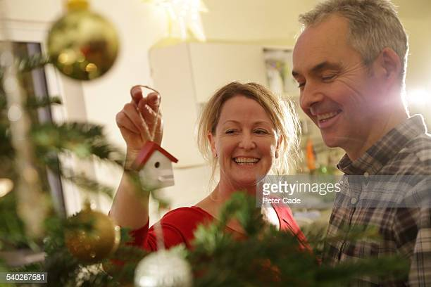 Middle aged couple putting up the Christmas Tree