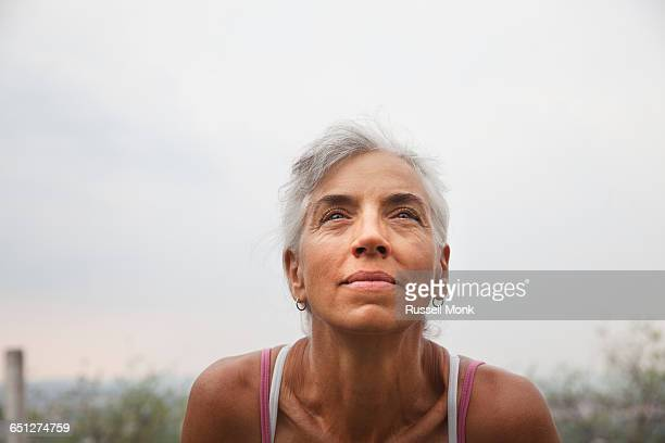 A middle aged female runner