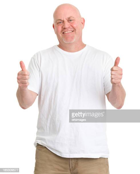 middle aged man giving two thumbs up - chubby men stock photos and pictures