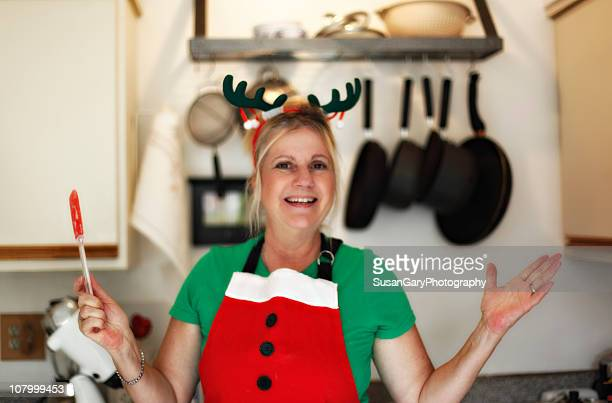 Middle aged woman in Xmas Holiday Outfit