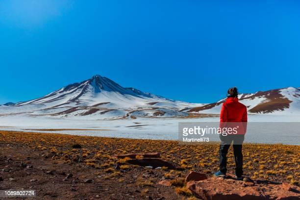médio, com idade entre a cordilheira dos andes mulher - casaco vermelho - rota 23 - olhando para a paisagem - atacama região - altiplano dos andes- - chile - fotografias e filmes do acervo