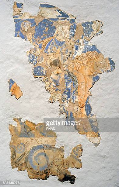 Middle Ages Central Asia Silk Route Fourarmed goddess on a lion Wall painting Glue colour on dry loess plaster Early 9th c Kalai Kahkaha Palace...