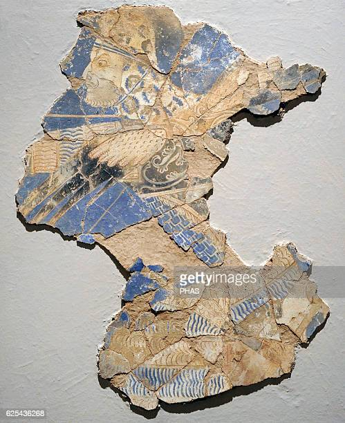 Middle Ages Central Asia Silk Route Winged warriorDemon Wall painting Glue colour on dry loess plaster Early 9th c Kalai Kahkaha Palace Smaller...