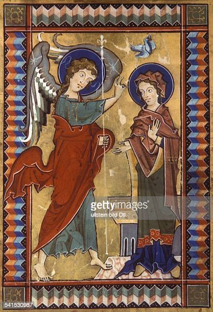 Middle Ages Christian art Annunciation to Mary about the imminent Nativity by the archangel Gabriel 1250