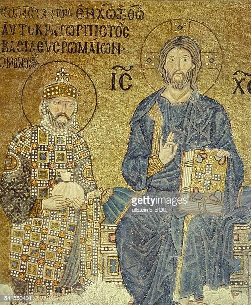 Middle Ages Christian art Jesus Christ on the throne left Emperor Constantine IX 'Monomachos' mosaic Byzantine Hagia Sophia Istanbul 1st half 11th c...