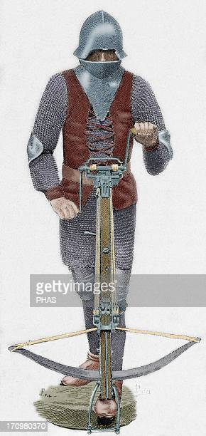 Middle Ages Crossbowman 15th century Colored engraving