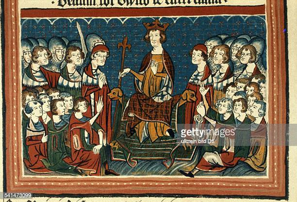 Middle Ages Illuminations Heinrich VII 1274 - 1313 German King and Holy Roman Emperor 1308 - 1313 Henry VII sitting in judgement, surrounded by...