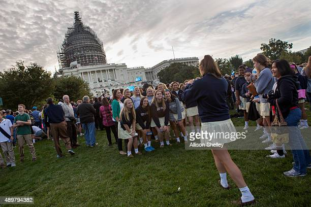 Middle and high school students of Holy Child School in Potomac Maryland gather for a group photo on the West Front of the US Capitol building to...