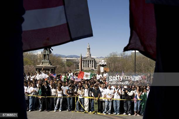 Middle and high school students who walked out of school listen to speakers on the steps of the Colorado state Capitol during a rally April 19 2006...