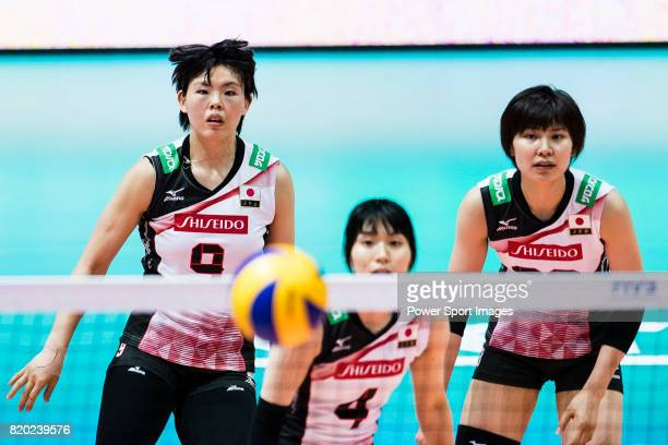 Middle blocker Haruyo Shimamura of Japan Wing spiker Risa Shinnabe of Japan and Wing spiker Rika Nomoto of Japan in action during the FIVB Volleyball...