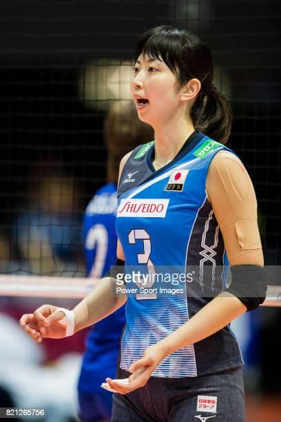 Middle blocker Nana Iwasaka of Japan reacts during the warm up section prior the FIVB Volleyball World Grand Prix Hong Kong 2017 match between Japan...