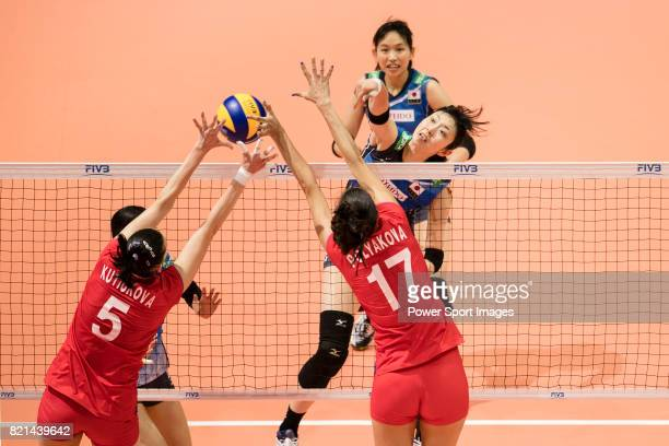 Middle blocker Nana Iwasaka of Japan spikes the ball during the FIVB Volleyball World Grand Prix match between Japan vs Russia on July 23 2017 in...
