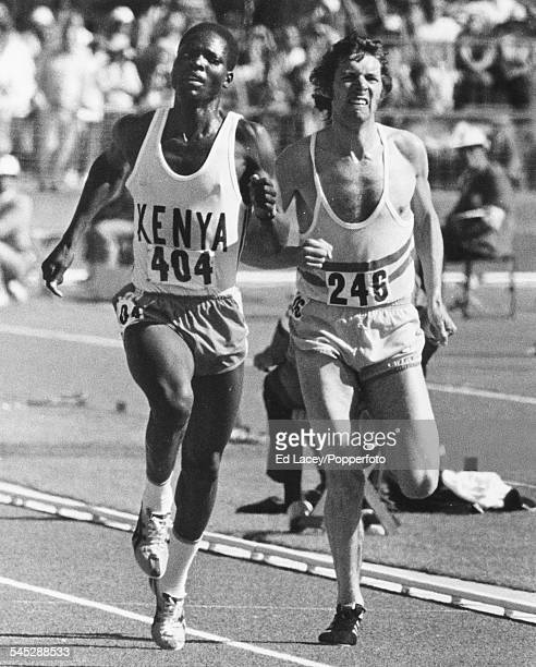 Middle distance runners Ben Jipcho and Brendan Foster at the close of the 5000m event at the Commonwealth Games in Christchurch New Zealand on 29th...