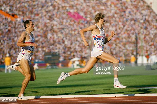 Middle distance runners from England Steve Ovett and Steve Cram at the 1984 Summer Olympics