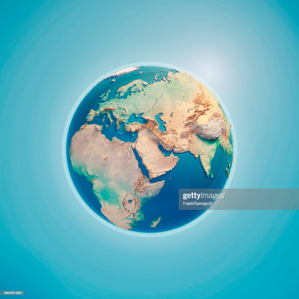 Middle East 3D Render Planet Earth : Stock Photo