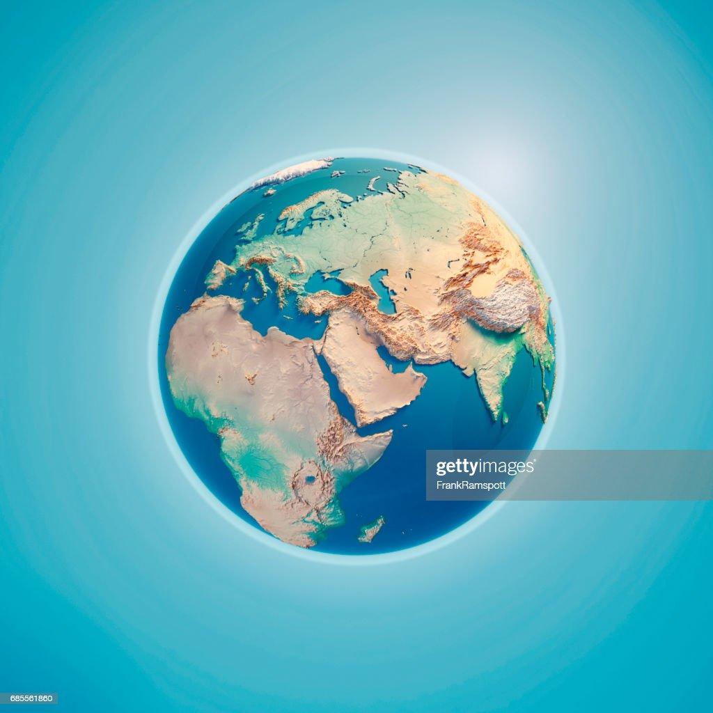 Médio Oriente Render 3D planeta Terra : Foto de stock