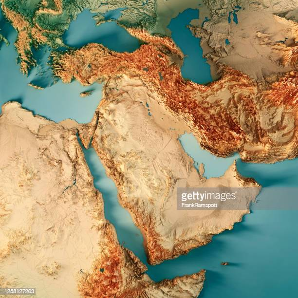 middle east 3d render topographic map color - gulf countries stock pictures, royalty-free photos & images