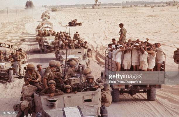 Middle East 8th June 1967 Six Day War Sinai Desert Captured Egyptian soldiers are transported in an open top truck to a prisoner of war camp as an...