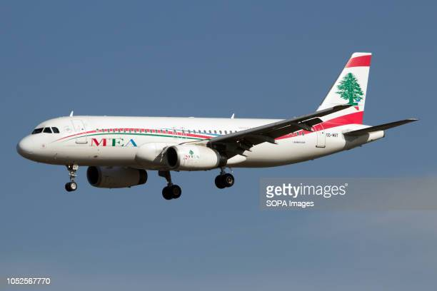 Middle East Airlines Airbus 320 lnding seen at the London Heathrow airport.