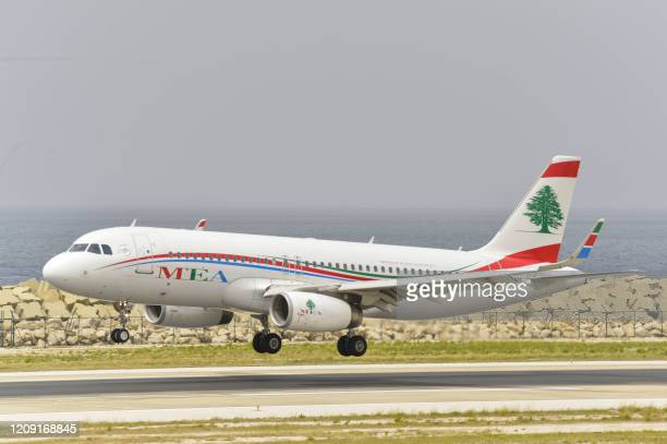 Middle East Airlines plane, carrying Lebanese nationals residing in Saudi Arabia, lands on the tarmac of Beirut's International airport on April 5,...