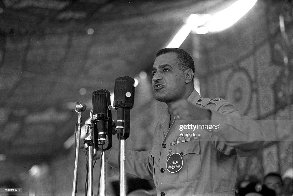 Middle East. 1955. Egyptian President Colonel Gamal Abdel Nasser is pictured making a speech. : News Photo