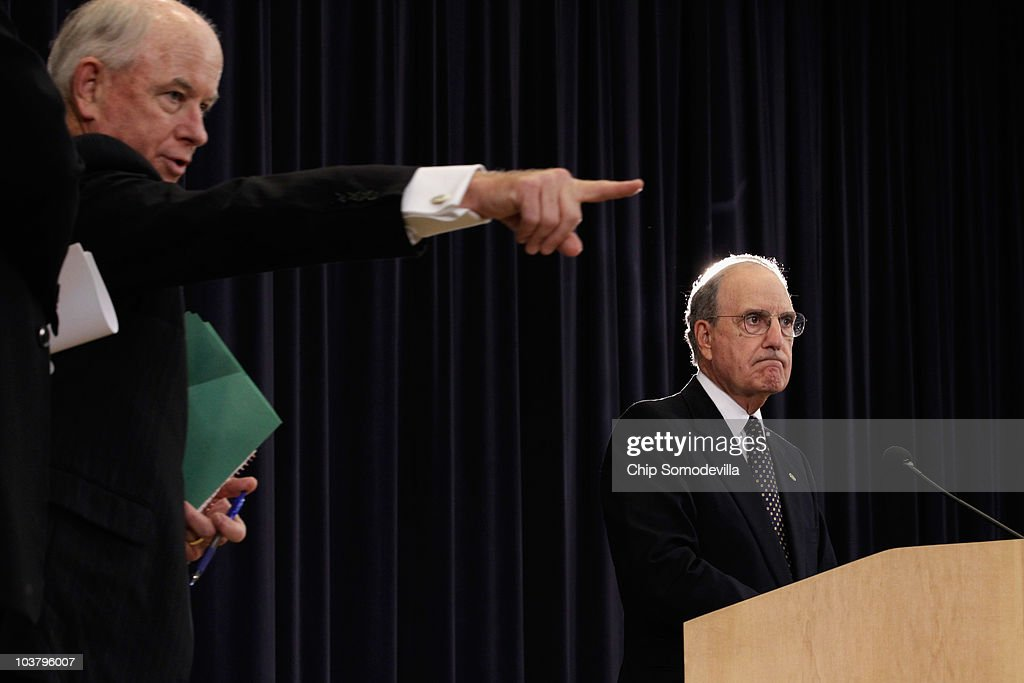 U.S. Middle East Envoy and Ambassador George Mitchell (R) holds a news conference during the first day of direct trilateral negotiations between Israeli, Palestinian and U.S. leaders about a Middle East peace plan at the Department of State September 2, 2010 in Washington, DC. The Israeli and Palestinian leaders have started a new round of peace talks in Washington, the first one in more than 18 months.