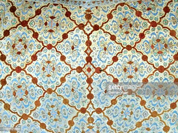 middle east historical palace ceiling islamic art design in isfahan, iran - vogel stock pictures, royalty-free photos & images