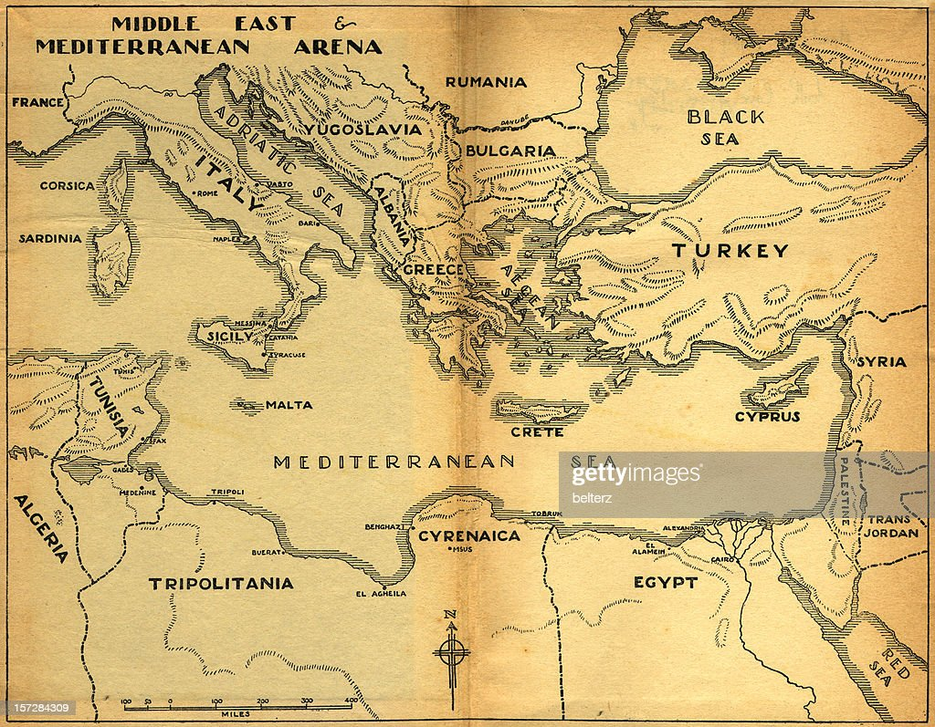 Middle East Mediterranean Old Map Stock Photo Getty Images