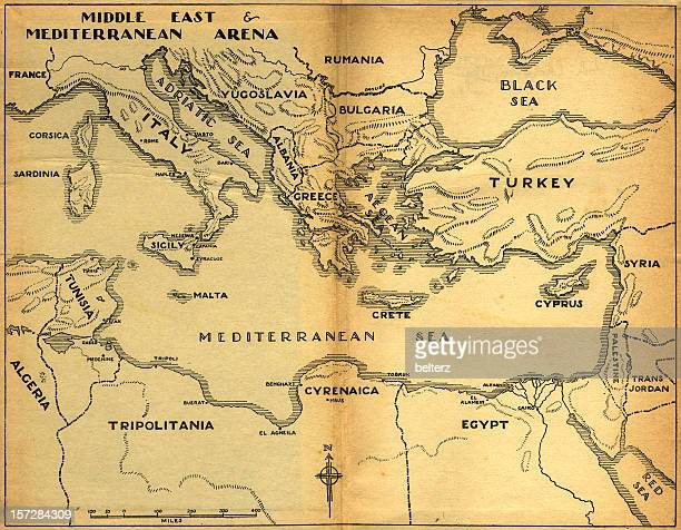 middle east & mediterranean old map
