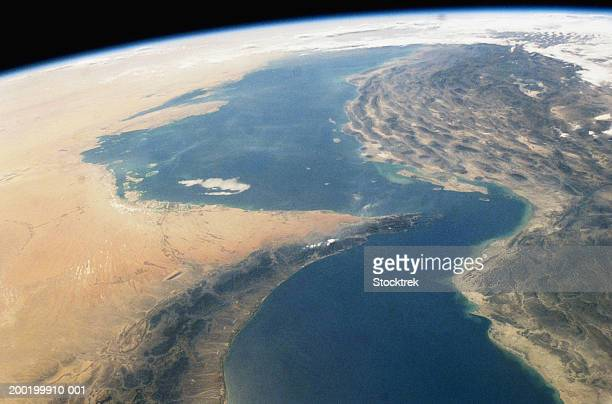 middle east, persian gulf region, strait of hormuz, satellite view - gulf countries stock pictures, royalty-free photos & images