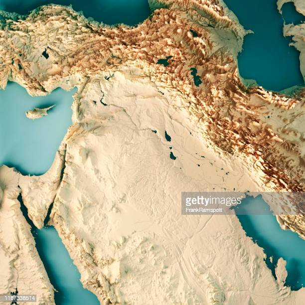 middle east syria iraq 3d render topographic map color - frankramspott imagens e fotografias de stock