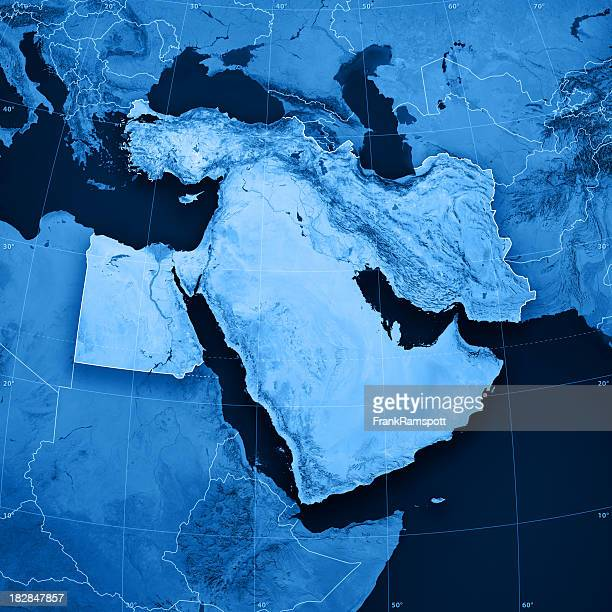 middle east topographic map - middle east stock pictures, royalty-free photos & images